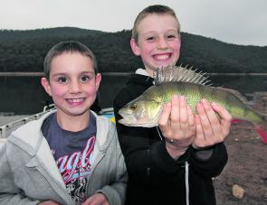 Talented Wangaratta fisher-kids Ben and Josh Sgarioto with a magnificent redfin they trolled on a Tassie Devil lure at Lake William Hovell. A few redfin should start to turn up in William Hovell during October, especially towards the end of the month.