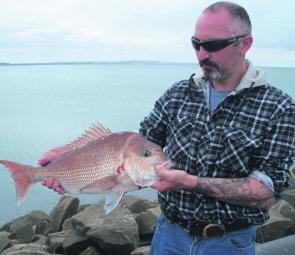 Dion Hemley of Rupanyup on holidays in Portland with his 3kg plus snapper caught off the Lee Breakwater during the middle of the day!