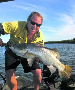 Bill Weder with a cool water barra. They are harder to catch in the cooler months, but are still a viable option.