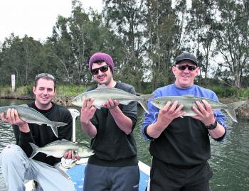 The boys with a few sambos caught up the Tuross River just before the rains.