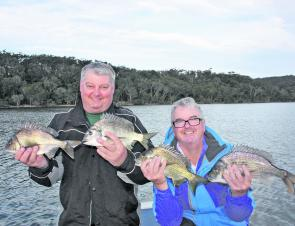 Lex and Paul with a mixture of black and yellowfin bream caught on soft plastics and blades. All fish were released in great condition.