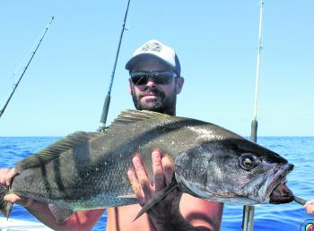 Dallas with a mulloway caught at Caloundra 12-Mile.