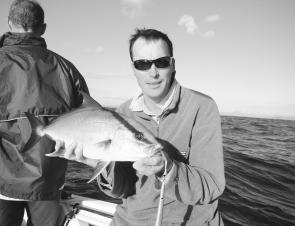 A high-fin amberjack caught jigging the eastern ledge of the Nine Mile. They are a pretty fish and pull very hard for their size.