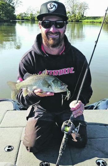 Grant Clements with a spinnerbait-caught Aussie bass near Coraki.