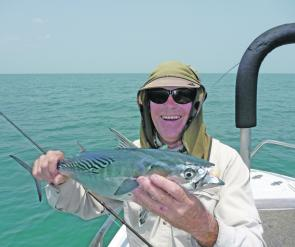 Mac tuna are strong fighters, and a great challenge on the fly rod.