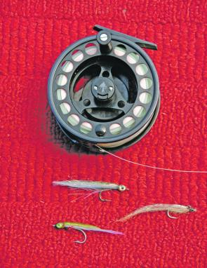 A winning combination: the Snowbee large arbor reel and a selection of small tuna flies.