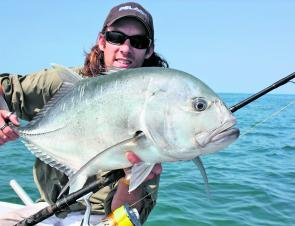 Mitch Chapman with a typical bait ball trevally.