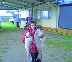 Jake Walsh holds up some lovely snapper that he caught offshore at McLoughlins Beach in 16m of water. One fish weighed in at 8.5kg and the other weighed 4kg.