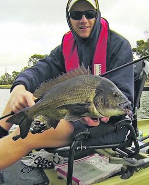 Keen kayak enthusiast, Joel Bramble, displays one of many bream taken on the Maribyrnong River in recent times. This one fell to a Cranka Crab smeared with Sax Scent.