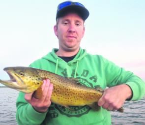 Nathan Bromley visiting Toolondo from Geelong snared this nice brown late afternoon on a Fish Arrow J Huddle plastic.