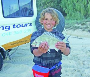This stud bream was caught along Teewah Beach on a day trip with Noosa Surf Fishing Tours.