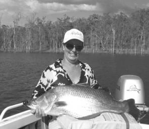 Christine Machonachie with a prime Awoonga barra caught while fishing in the inaugural Daiwa BARRA Tour.