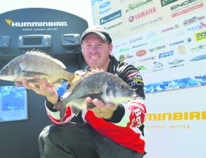 Brad Hodges with two of the bream for his winning day two bag.