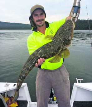 Jason got a nice surprise on a recent charter with this 84cm flathead, which was released after the pic.