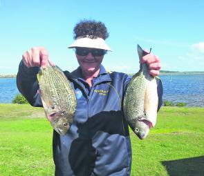 Debbie Logan managed a couple of bream from the Harrington breakwall.