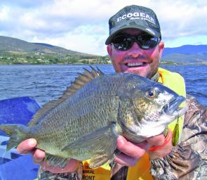 Gavin Dunne with a fat bream taken from a shallow mid-river reef.