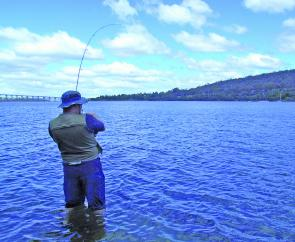 Here Toby Broomhall deals with the initial runs of a solid bream at Cornelian Bay.