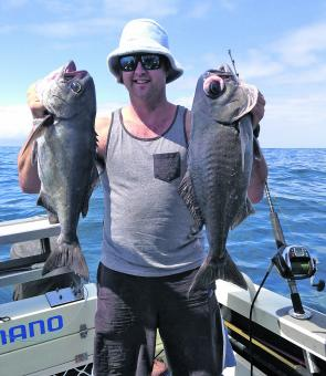 Jeremy Cashion loves his blue terry towel hat and blue eye trevalla.