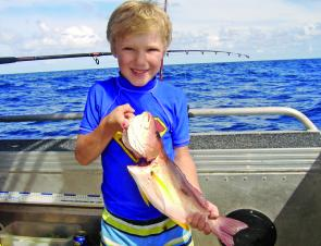 It's a great time to be out on the water with the family. This little chap had a fun day catching Moses perch and parrotfish.