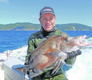 With the right set up and some practice, new spearfishers will be reaping rewards like this boarfish caught by Glenn George in New Zealand.