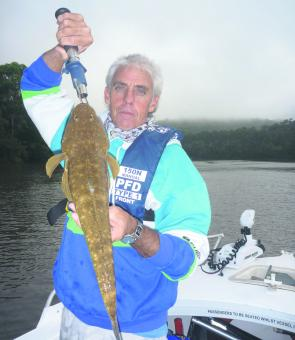 Wayne Heath trolled up this 54cm flathead while chasing bass on a recent charter at Lower Portland.
