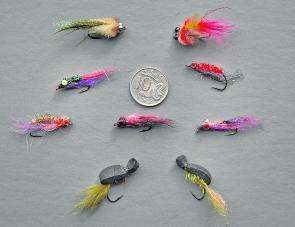 A selection of the author's small bream flies. They also work fine on bass, which is very handy.