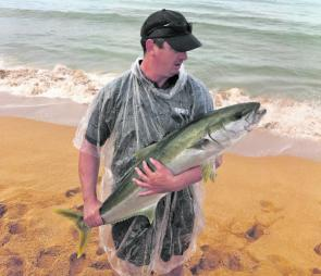 What an awesome beach catch! Robert Whelan caught this kingfish off the beach at Collaroy.