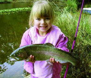 Kirra Ward with a 2.5lb rainbow trout from Jubilee Lake at Daylesford.