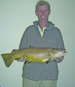 Rick Sutherland with his whopping 6.5lb brown trout from Newlyn Reservoir.