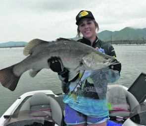 A solid Peter Faust barramundi caught by Georgette Elkins.