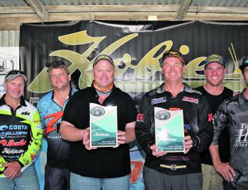 The top three pose for the cameras: third place Team Reel Obsession's Steve Mew and Damien O'Gorman, second place Team Cranka's Declan Betts and Steve Wheeler and first place Team Minn-Kota's Cam Whittam and Warren Carter.