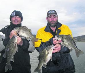 Greg and China on a winter's day at Glenbawn with some quality bass jigged up on ice jigs.