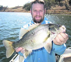 A fat bass from Glenbawn caught deep blading in 45ft of water.