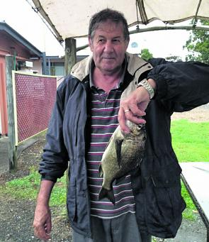 Peter Bodey of Carrum Downs with a bream he caught at the Mahogoneys on a frozen prawn.