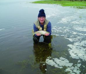 The author with a cracking trout from Wurdi Buloc