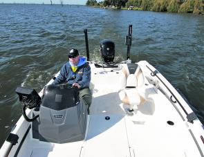 Looking towards the transom sees the ability for four seat positions plus the powerful Talon anchor spike and the Humminbird 360 transducer. The rear end is a wealth of technology that will help you catch more fish.