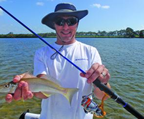 Peter Lonard of Daiwa has fun popping for the local whiting – a great way to work up a thirst and a good feed.
