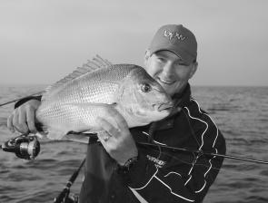 Adam Royter with a lure-crunching snapper – there will still be plenty of these about in January.