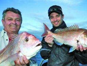 Greg Beatty and Dan Lee with a couple of school snapper.