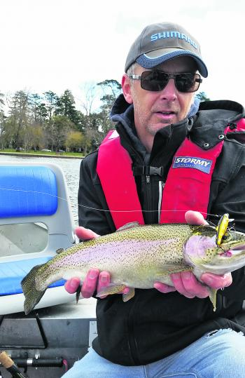 Stephen Angee with some pure Wendouree gold – a lovely rainbow trout caught on a Spawning Brown Bullet Lure.