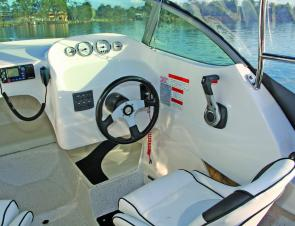 The skipper's seat is well positioned and provides a comfortable position to control the boat.