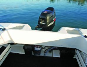 The stern of the boat has two good sized bait tanks and easy access to the motor.