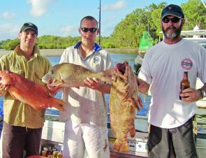 These three blokes from Emerald took home a good esky full of quality fish from the close reefs.