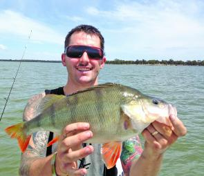 Brad Rawlings from Shepparton with a cracking redfin from Waranga Basin.