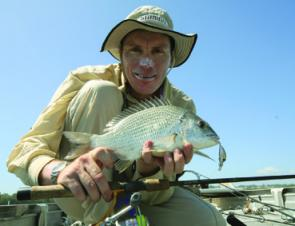 This bream was wrestled from heavy cover on a minnow in clear water after soft plastics couldn't produce the goods.