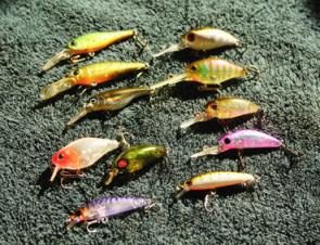 The finish and colour combinations on the hardbodies available today is amazing. Left column: Smith Jade, Megabass Smolt, Ecogear SX40, Jackall Chubby Shallow, Smith Camion Shallow, Bassday Sugar Minnow Shallow; right, Smith Dredge, Jackall Chubby Deep, S