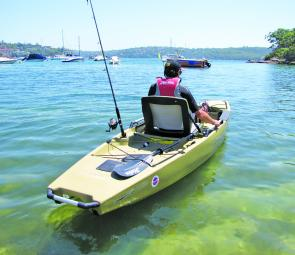 The Hobie Pro Angler can easily be launched from the beach. The rudder pulls down via a simply toggle and the pedal drive slots into the foot well.