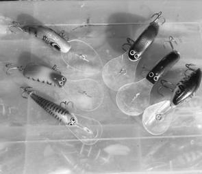 Good deep lures for the dams: Clockwise from bottom left, Stuckey, AC Invader Ultra Deep, Predatek Boomerang, Ferral Catt, AC Invader Slim Ultra Deep and Mann's 15+.