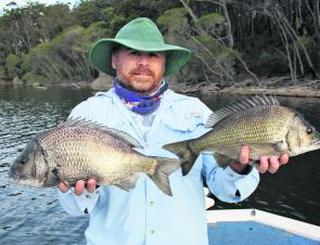 Mick with a couple of cracking black bream of 46cm and 43cm, both released.