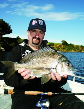 Stewie McKinnon with a 45cm bream taken from the Hopkins River.